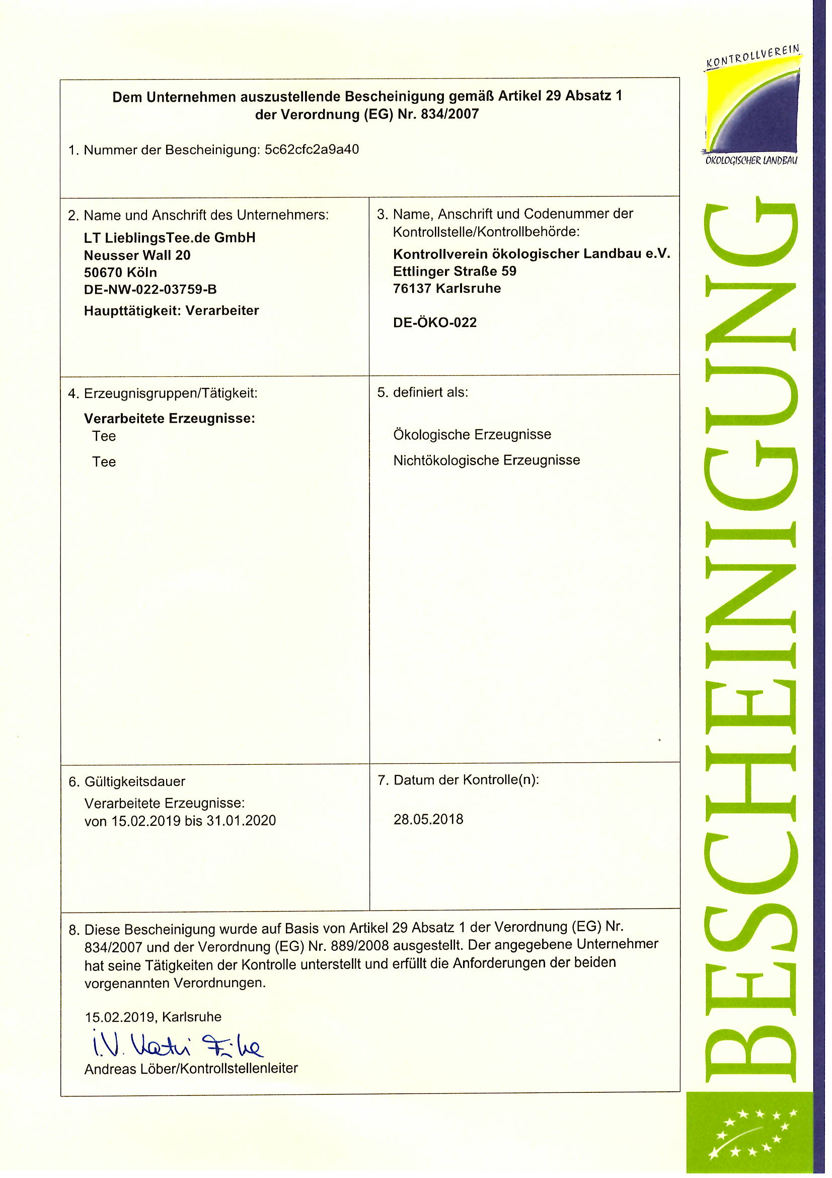 LieblingsTee.de Bio Zertifikat